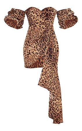 Tan Leopard Print Frill Bardot Draped Bodycon Dress   PrettyLittleThing USA