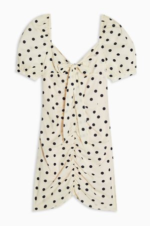 Black and White Spot Ruched Tie Front Mini Dress | Topshop