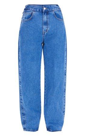 Mid Blue Wash Baggy Boyfriend Back Tie Jeans | PrettyLittleThing USA