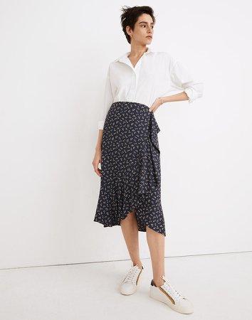 Ruffle-Wrap Midi Skirt in Spring Fling