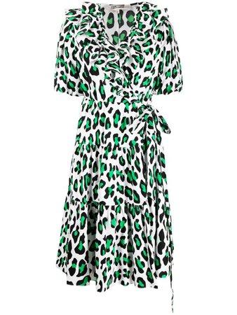 Shop white & green DVF Diane von Furstenberg Hirata leopard-print wrap dress with Express Delivery - Farfetch