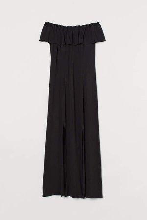Off-the-shoulder Maxi Dress - Black