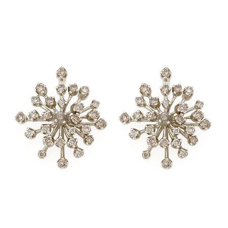 Brincos de Ouro Nobre 18K com diamantes cognac - Maior - Coleção Snow Flake - hsjoiasbr