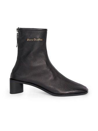 Acne Studios Bertine Square-Toe Leather Ankle Boots   SaksFifthAvenue