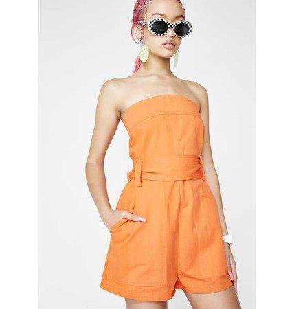 Orange Strapless Bow Romper | Dolls Kill