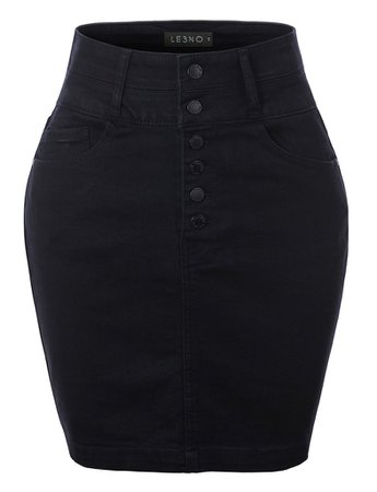 LE3NO Womens Casual High Waist Exposed Button Fly Denim Jean Pencil Skirt | LE3NO black