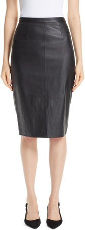 Stretch Nappa Leather Pencil Skirt