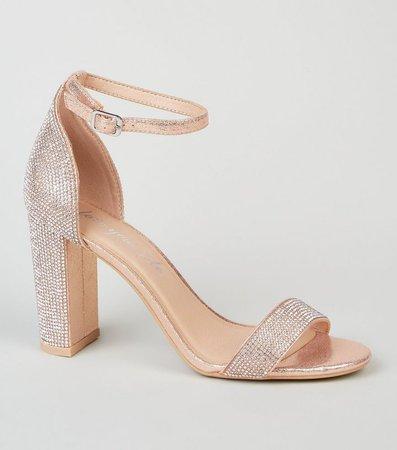 Rose Gold Diamanté 2 Part Block Heel Sandals   New Look