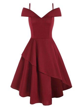 [34% OFF] Cami Open Shoulder Foldover Asymmetrical Dress | Rosegal