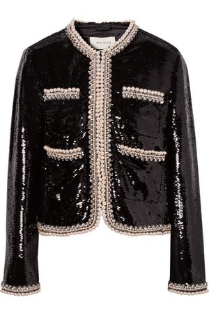 Gucci | Faux pearl and crystal-trimmed sequined crepe jacket | NET-A-PORTER.COM