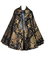 Amazon.com: Velvet Circular Cut Half Cloak Capelet Lined in Satin with Two-Button Clasp Black: Sports & Outdoors