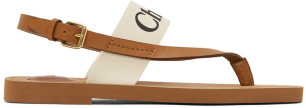 White and Tan Woody Flat Sandals