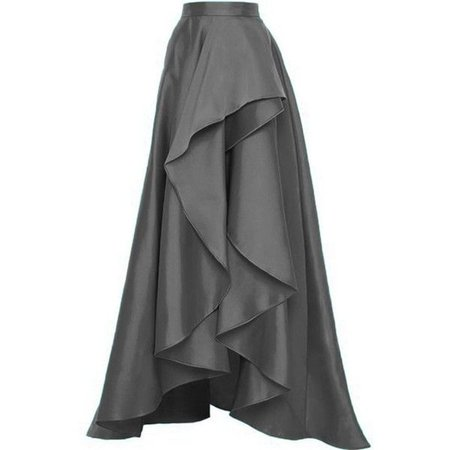 High-Low Gray Floor Length Skirt