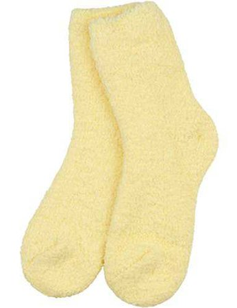 Pastel Yellow Fuzzy Socks