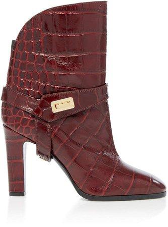 Eden Croc-Effect Leather Boots Size: 35