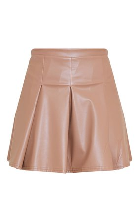 Chocolate Faux Leather Skater Skirt | Skirts | PrettyLittleThing USA