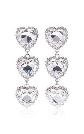 Alessandra Rich Long Crystal Heart Earrings