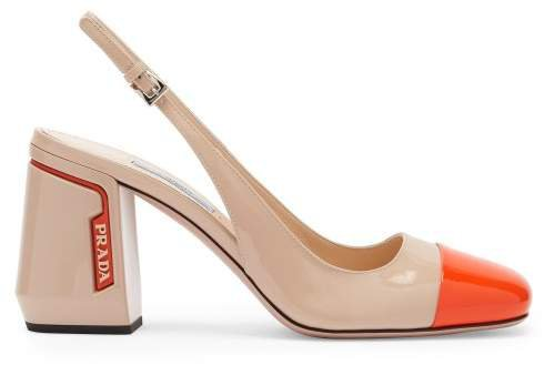Patent Leather Slingback Pumps - Womens - Beige Multi