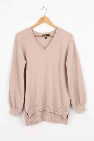Beige Knit Sweater - Soft Chenille Sweater - Lounge Sweater - Lulus