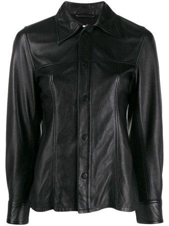 Black AMI smooth leather overshirt - Farfetch