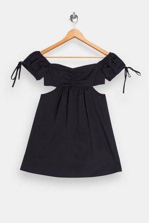 Black Cut Out Puff Mini Dress | Topshop