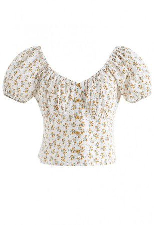 Ditsy Floral Embossed Shirred Crop Top in Ivory - NEW ARRIVALS - Retro, Indie and Unique Fashion