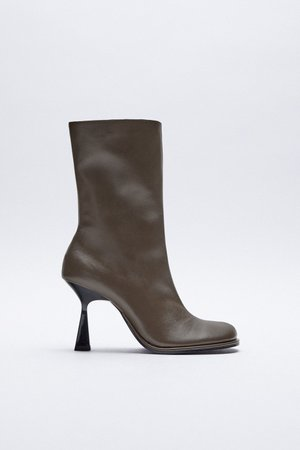 LEATHER HIGH-HEEL ANKLE BOOTS WITH ROUNDED TOES   ZARA United Kingdom