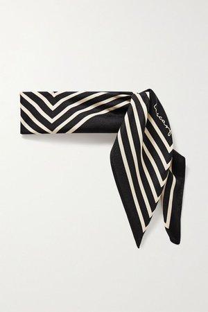 Black No. 16 striped silk-twill scarf | lescarf | NET-A-PORTER