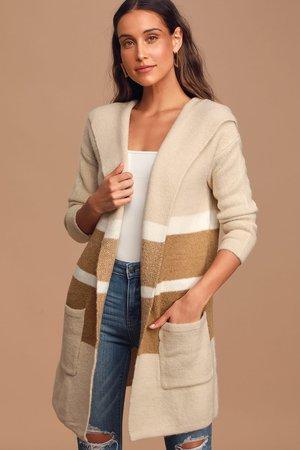 Tan and Beige Sweater - Cardigan Sweater - Hooded Sweater Cardi