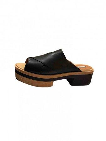 & Black Faux fur Sandals