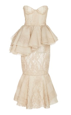 Pierrette Bustier-Detailed Cotton-Lace Peplum Dress by Brock Collection | Moda Operandi