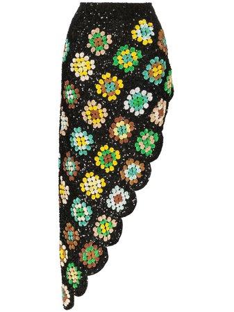 Ashish Patchwork Crochet Asymmetric Skirt - Farfetch
