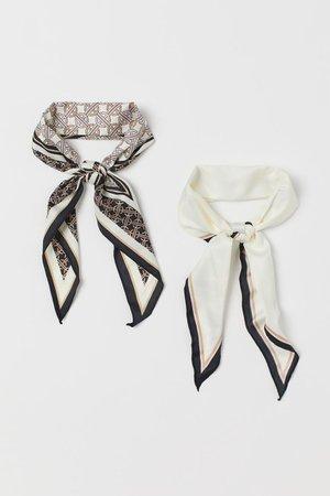 2-pack Scarves/Hairbands - Cream/patterned - Ladies | H&M US