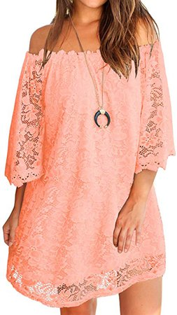 MIHOLL Women's Off Shoulder Lace Shift Loose Mini Dress at Amazon Women's Clothing store