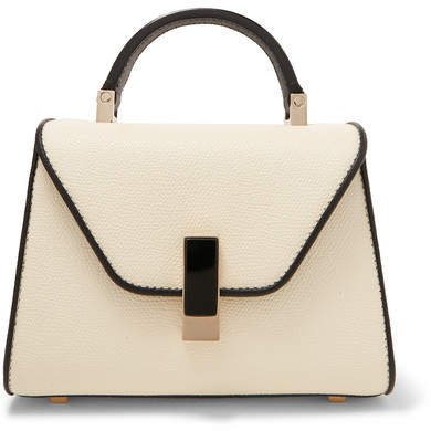 Iside Mini Two-tone Textured-leather Tote - White