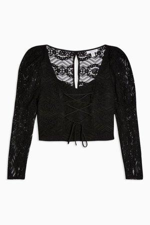 Black Lace Corset Prairie Blouse   Topshop