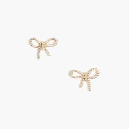 J.Crew Factory: Pearl Bow Stud Earrings For Women