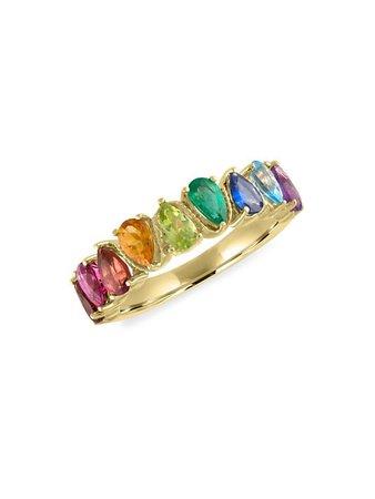 My Story Rainbow Lola 14K Yellow Gold & Mixed-Stone Ring | SaksFifthAvenue