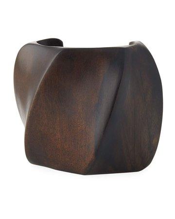 Viktoria Hayman Tiger Wood Swirl Cuff Bracelet