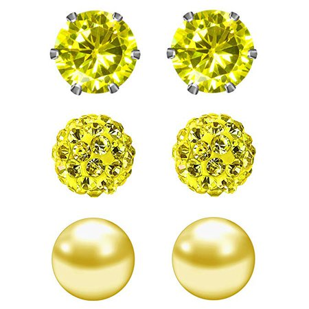 Amazon.com: JewelrieShop Yellow Studs Earrings for Women CZ Rhinestones Crystal Ball Fake Pearl Stainless Steel Party Stud November Birthstone Earring Set for Girl (3 pairs, 6mm Round, Nov): Jewelry