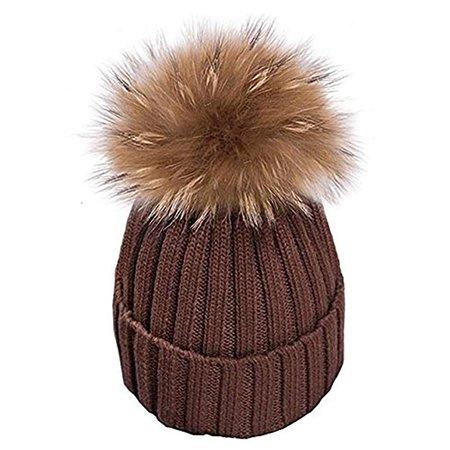 Warm Mütze Pelz Bommel Echtpelz Waschbär Ski-Mütze Fellbommel Pelzbommel Raccoon (braun): Amazon.de: Bekleidung