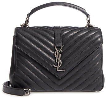 Medium College Quilted Leather Shoulder Bag