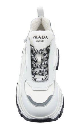 Leather And Rubber Platform Sneakers by Prada | Moda Operandi
