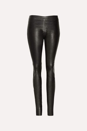 Stretch-leather Leggings - Black