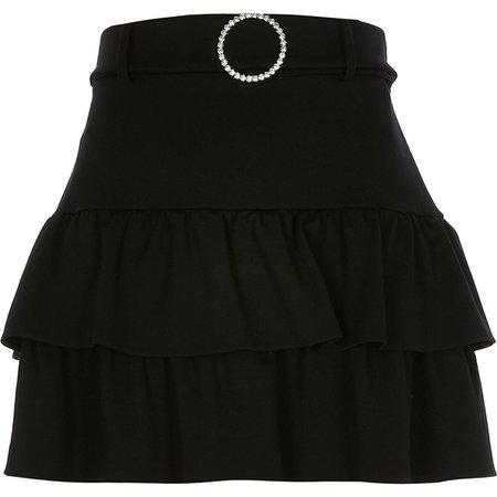 Black ruffle diamante belted mini skirt | River Island