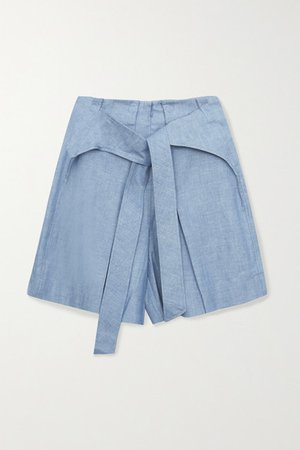 Tie-front Cotton-chambray Shorts - Blue