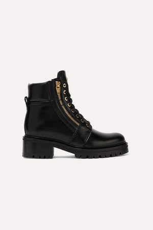 Army Leather Ankle Boots - Black
