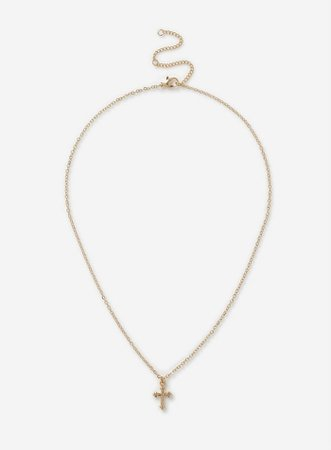 Gold Finish Cross Necklace | Dorothy Perkins