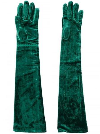 MM6 MAISON MARGIELA   Gloves   GLOVES   Velvet Long Gloves   Green   Tessabit Shop Online