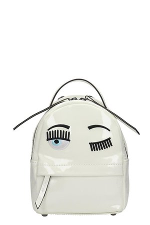Chiara Ferragni Backpack In White Patent Leather